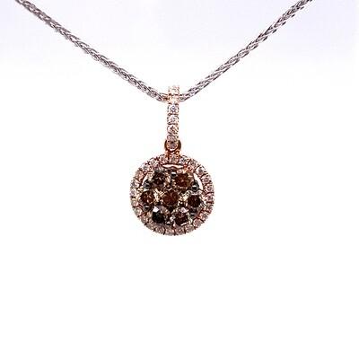 Ladies Rose Gold Brown Diamond Pendant