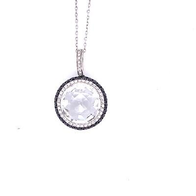 Ladies White Gold Quartz and Diamond Necklace
