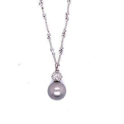 Ladies White Gold Pearl & Diamond Necklace