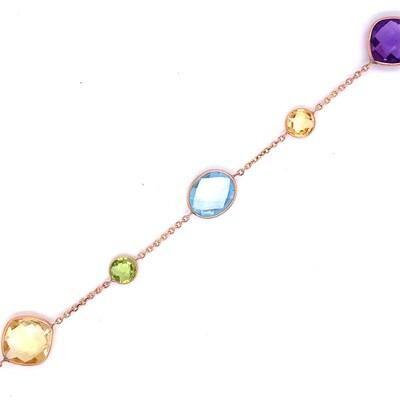 Ladies Yellow Gold Multi Color Bracelet