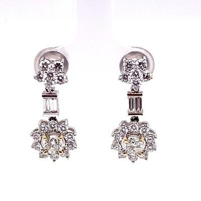 Ladies White Gold Baguette & Round Diamond Dangle Earrings