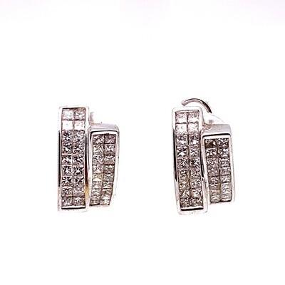 Ladies White Gold Princess Cut Diamond Earrings