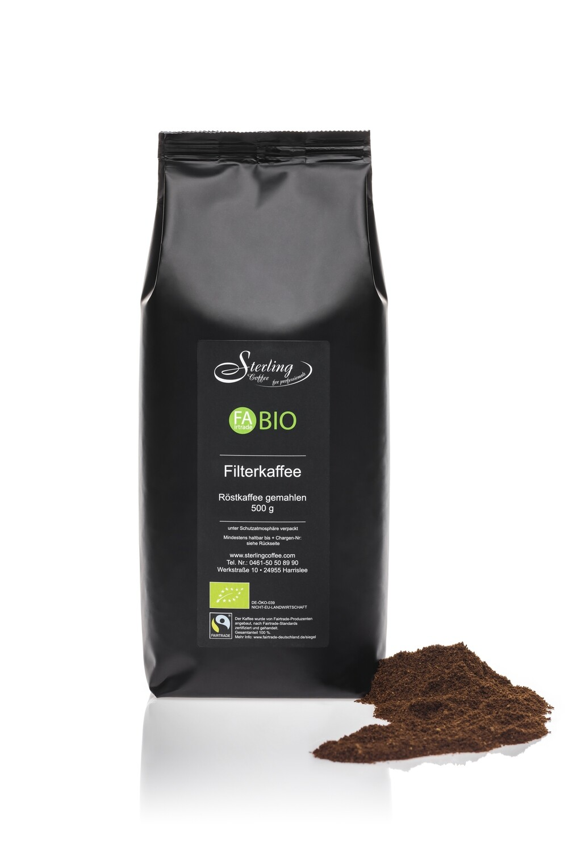 Sterling Coffee FAirtrade BIO Filterkaffee, gemahlen, 500g