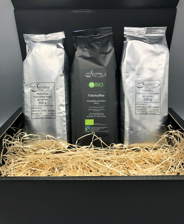 Sterling Coffee Filterkaffee Box, 3x 500g