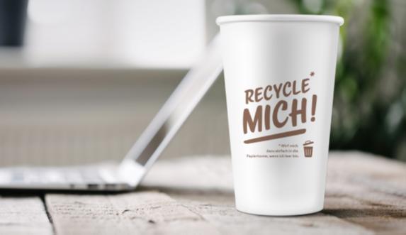 RECYCLE MICH - Coffee-to-go-Becher 300ml/12oz,  50 Stück