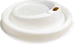 Deckel mit Trinkloch Ø 80mm f. 200ml/8oz-Becher aus Bagasse (kompostierbar), 50 Stück