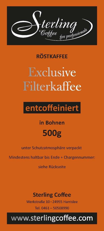 Sterling Coffee Exclusive Filterkaffee, entcoffeiniert ganze Bohne, 500g