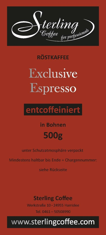 Sterling Coffee Exclusive Espresso, entcoffeiniert ganze Bohne, 500g