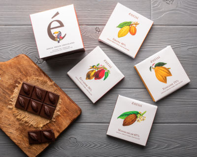 Pack of 4 Single Origin Chocolate Bars
