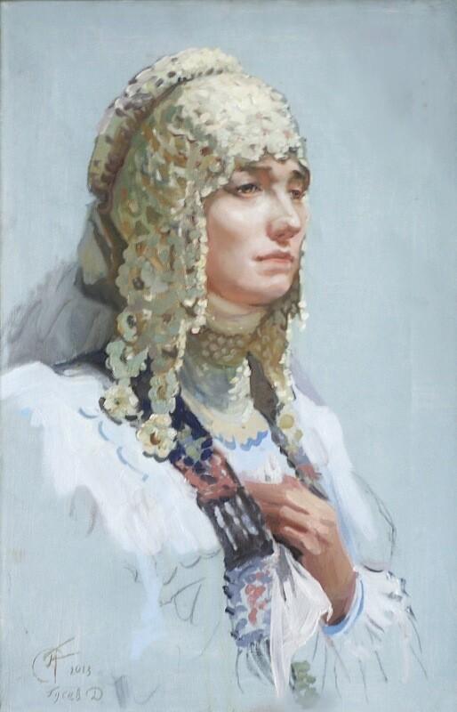Портрет девушки в народном головном уборе