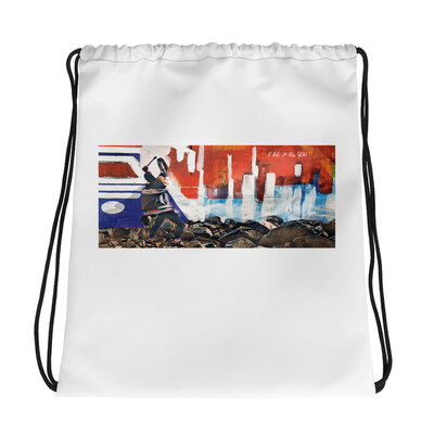 Fire in the Sea Drawstring Bag