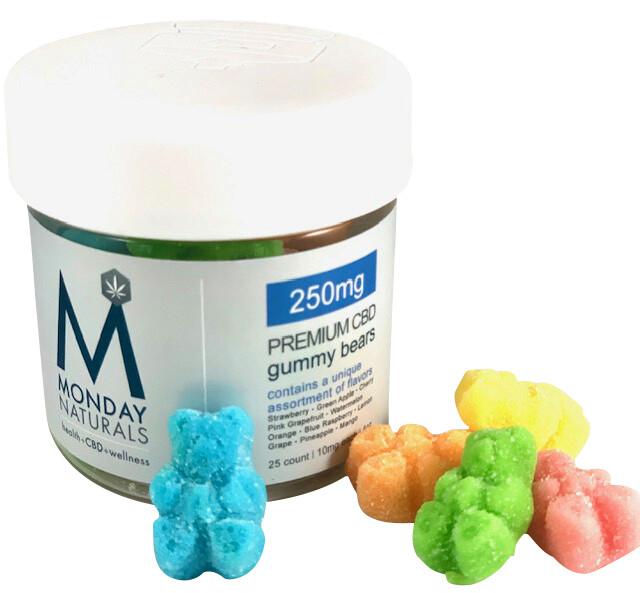 250mg Premium CBD Gummy Bears | 10mg each | Assorted Flavors | 4oz