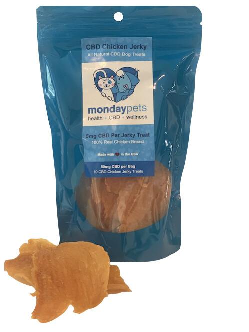 CBD Pet Chicken Jerky Treats / 50mg bag