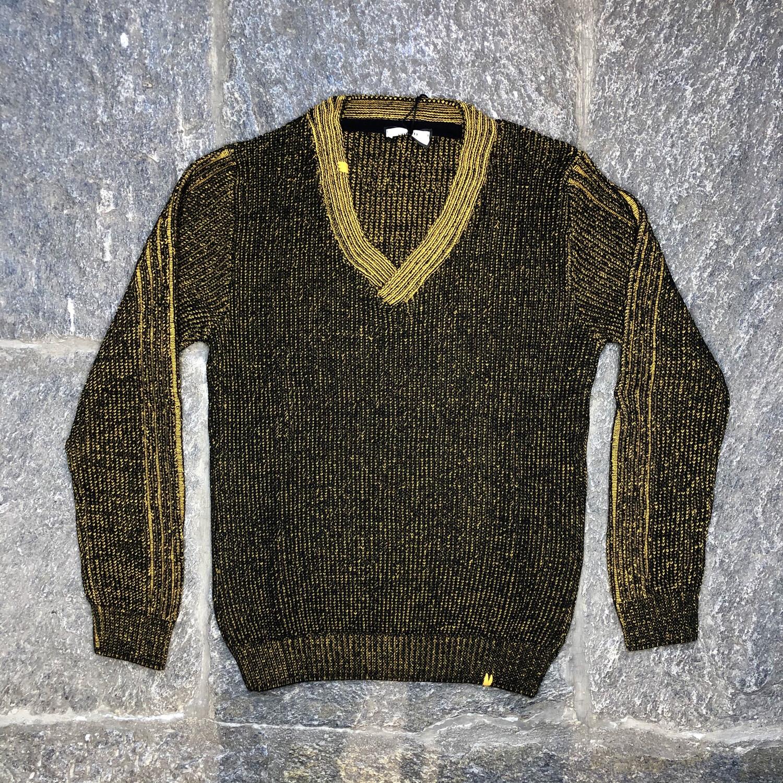 Maglione V basso melange giallo