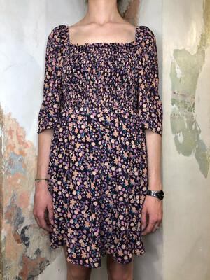 Vestito fiori lilla scollo quadro