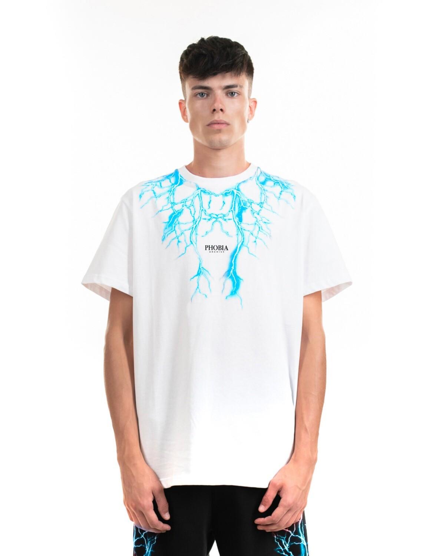 T-shirt Phobia Bianca stampa fulmini