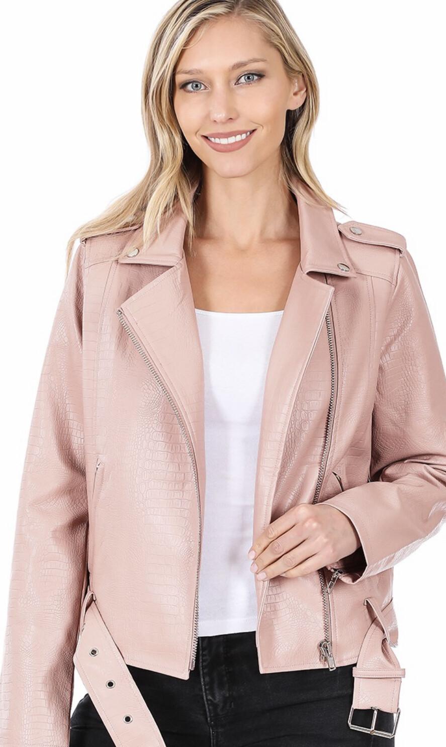 Zenana Vegan leather snake embossed belted jacket