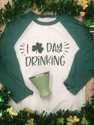 I Love Day Drinking Shamrock Baseball Tee