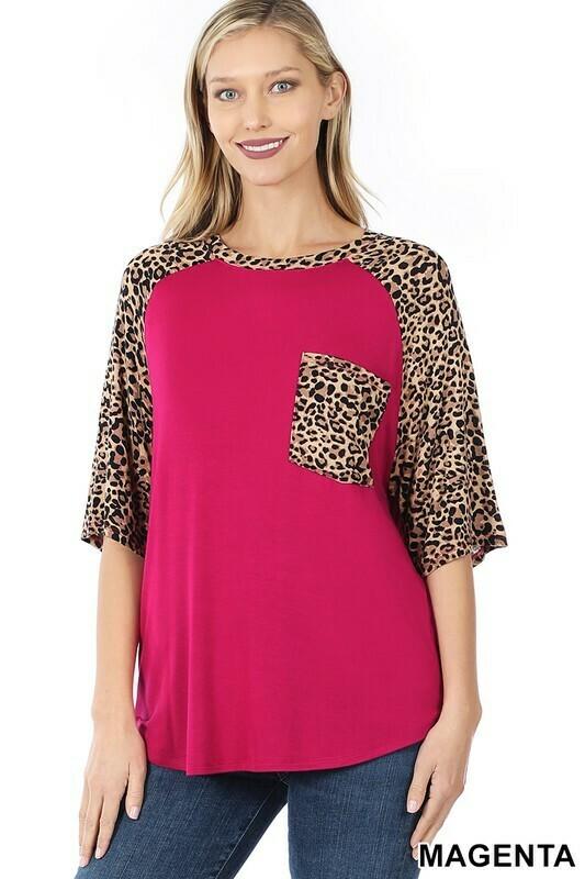 Zenana leopard sleeve patch pocket top