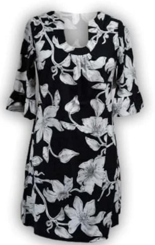 3/4 Ruffle Sleeve Horseshoe Neck Dress