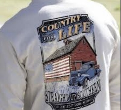 Straight Up Southern Country For Life L/S Tee