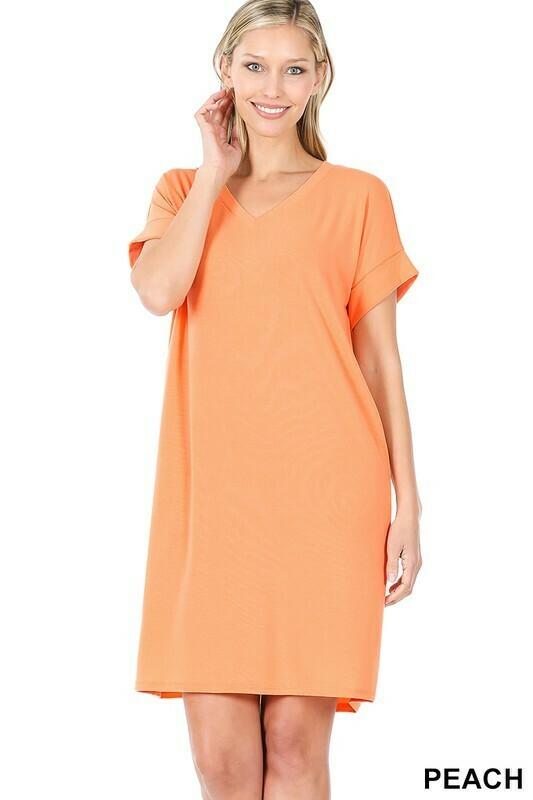 Zenana rolled short sleeve vneck dress