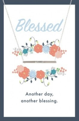 Blessed Bar Silver Necklace Card