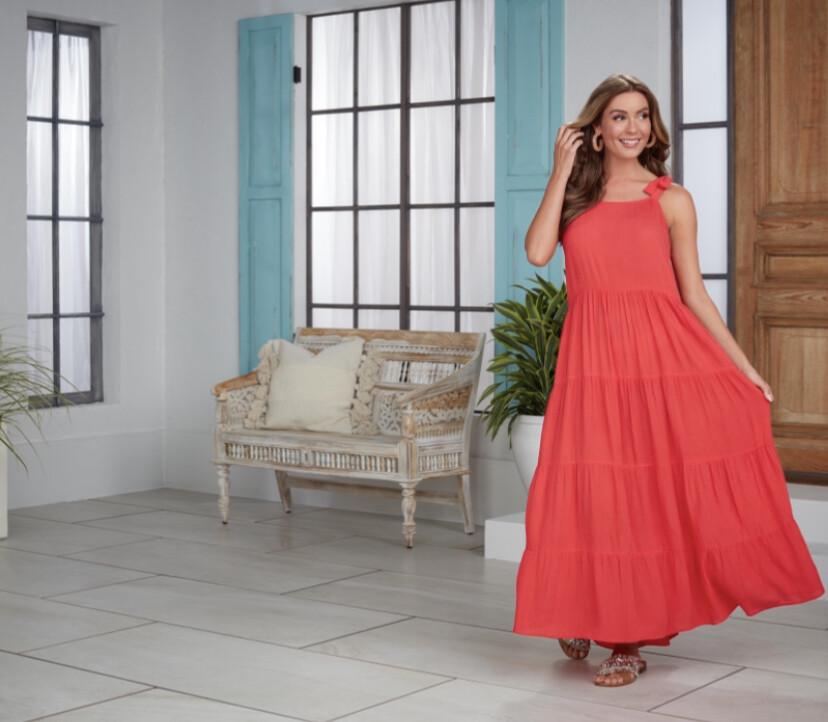 Mudpie Mimi Tiered Maxi Coral Dress