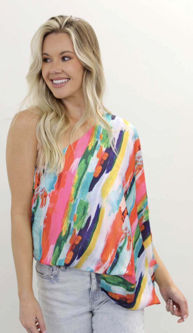 Judith March Sunset on the Beach one shoulder top