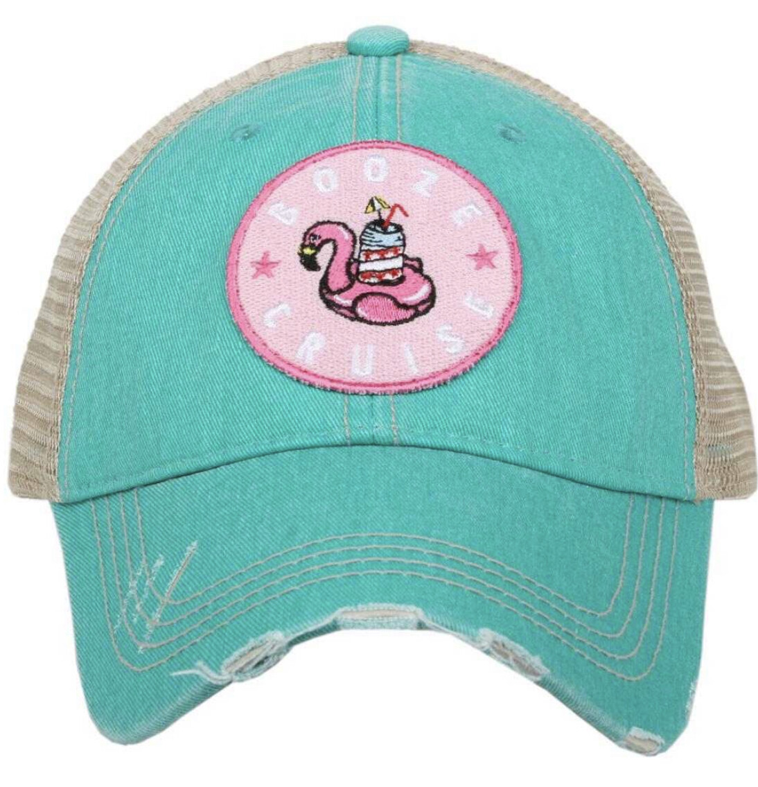 Booze Cruise Circle Patch Trucker hat