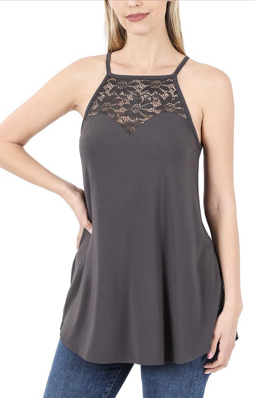 Zenana lace paneled sleeveless halter top