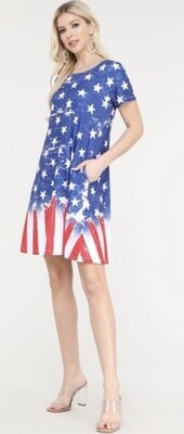 American Flag summer Dress with Pockets