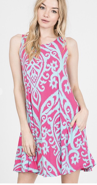 Heimish Aqua and Pink sleeveless dress