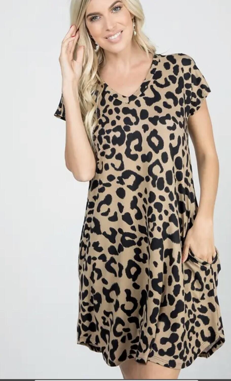 Heimish animal print vneck dress with side pockets