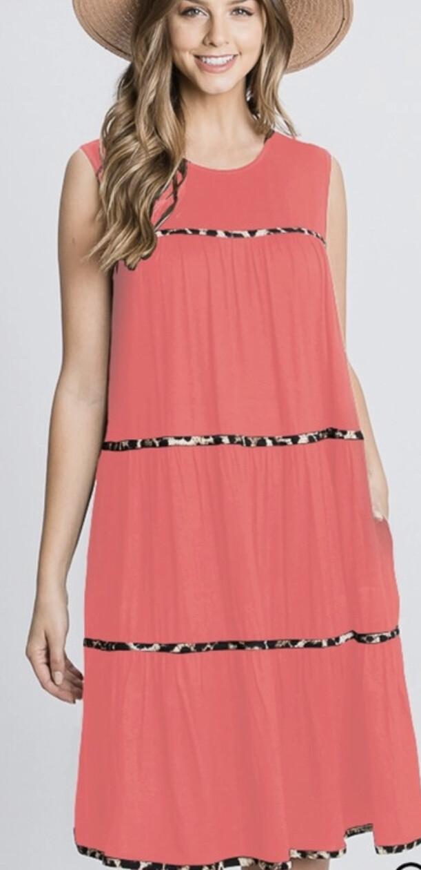 Heimish Sleeveless round neck dress w/animal print