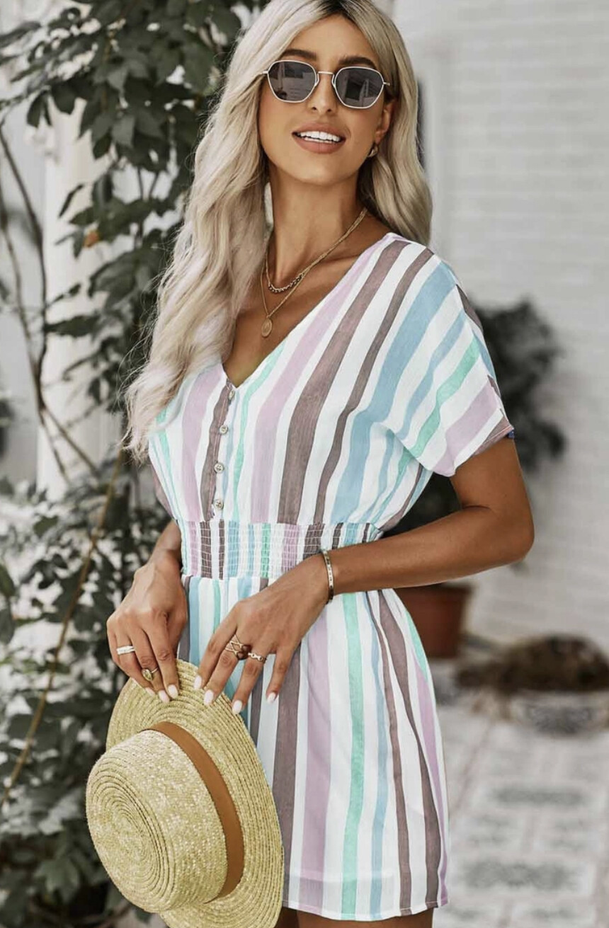 Colored Stripe Print Short Sleeve Romper