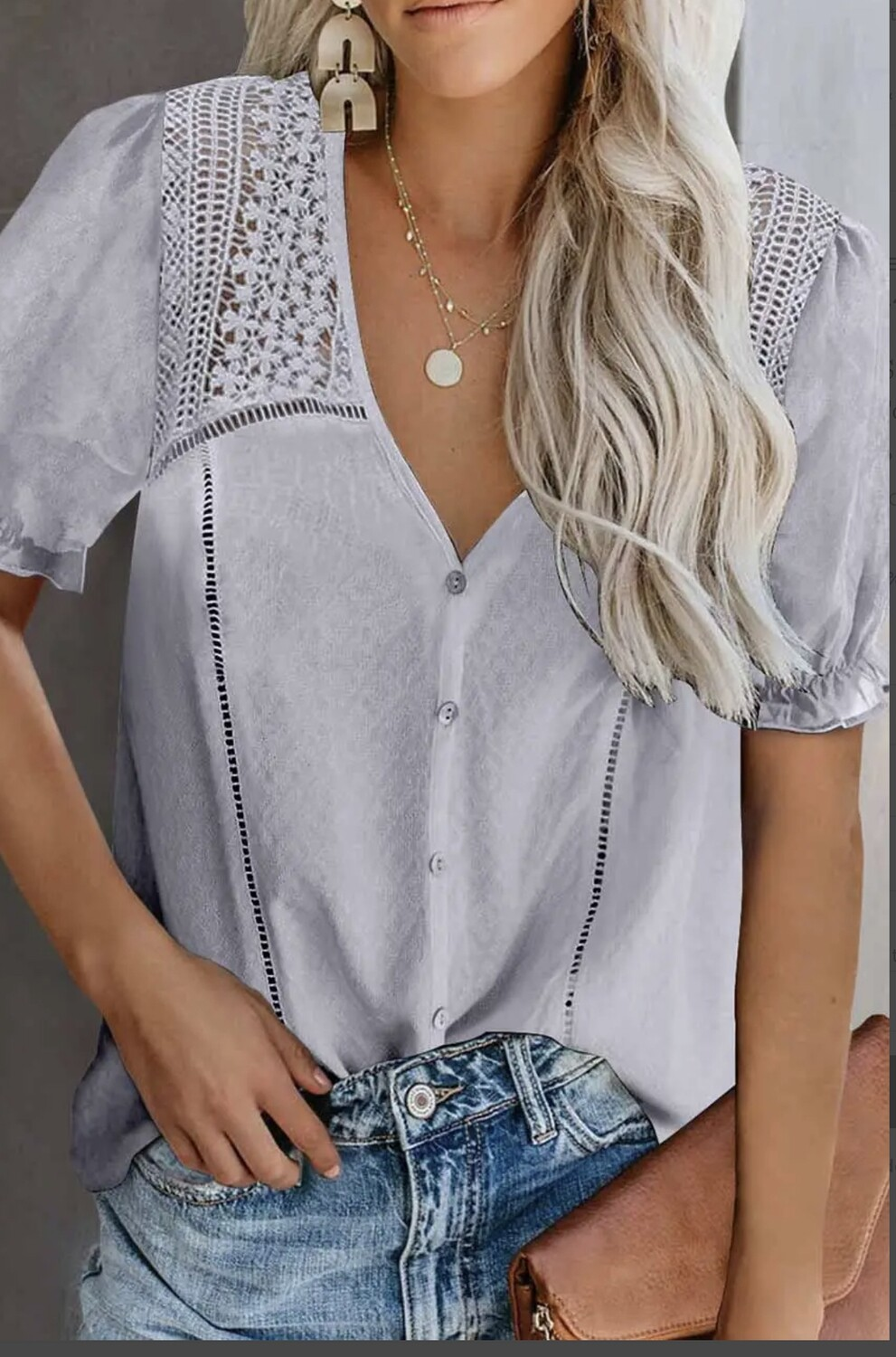 Lace Splicing Short Sleeve Top