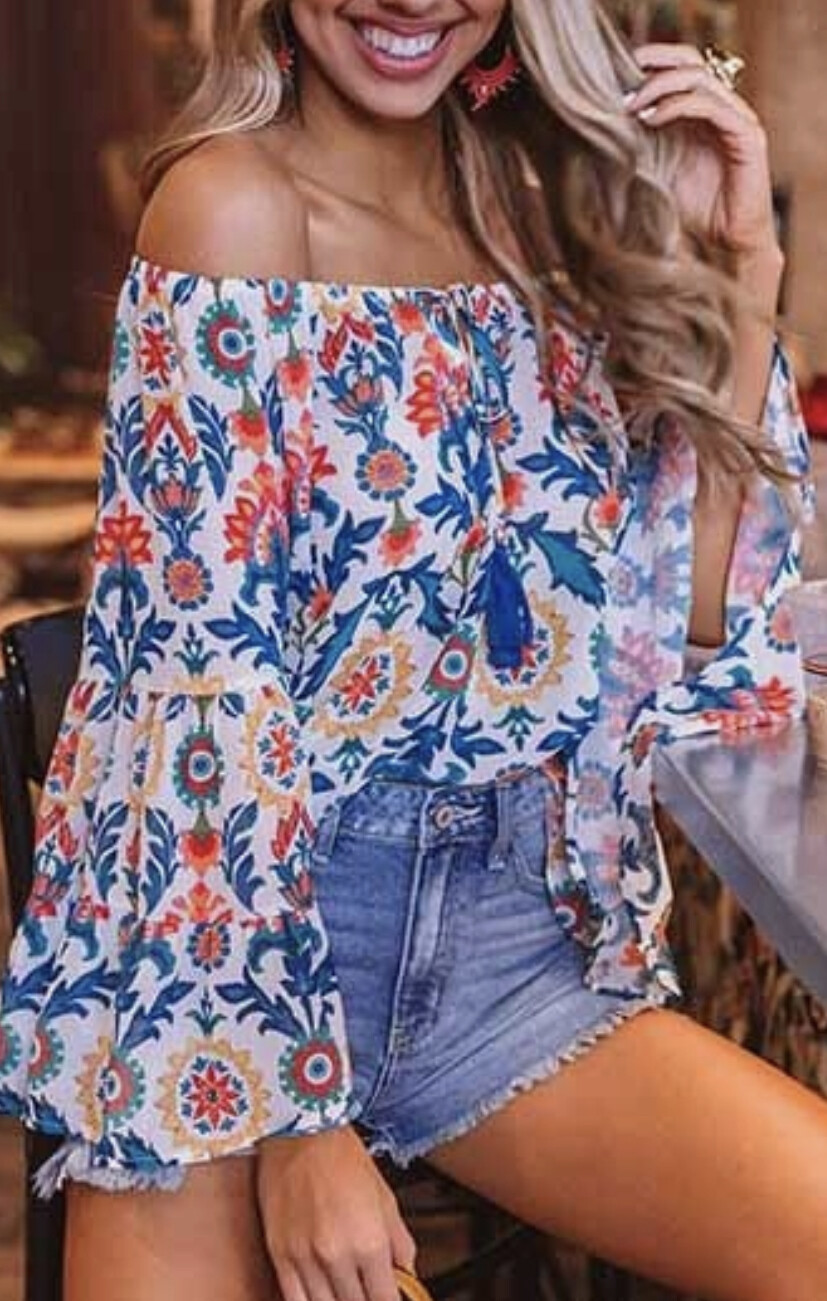 Floral Print Floral Long Bell Sleeve Top