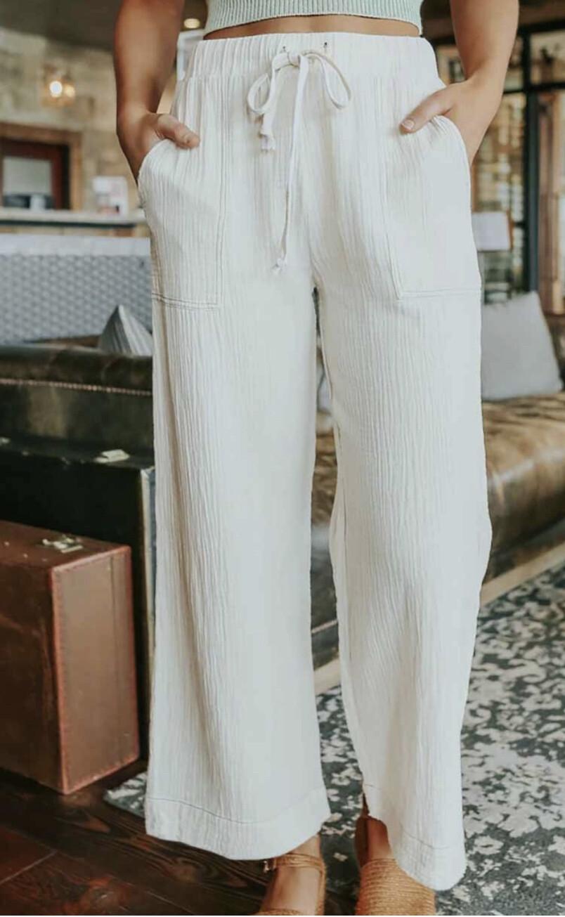 Casual Drawstring Wide Leg Pants