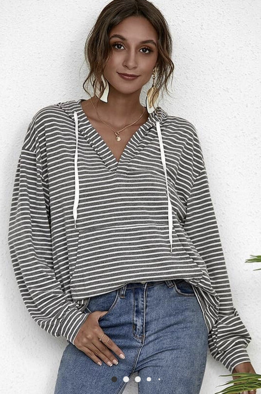 Relaxed V Neckline Striped Hoodie