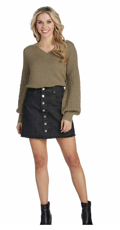 Mud Pie Fitz Button Front Denim Skirt Black