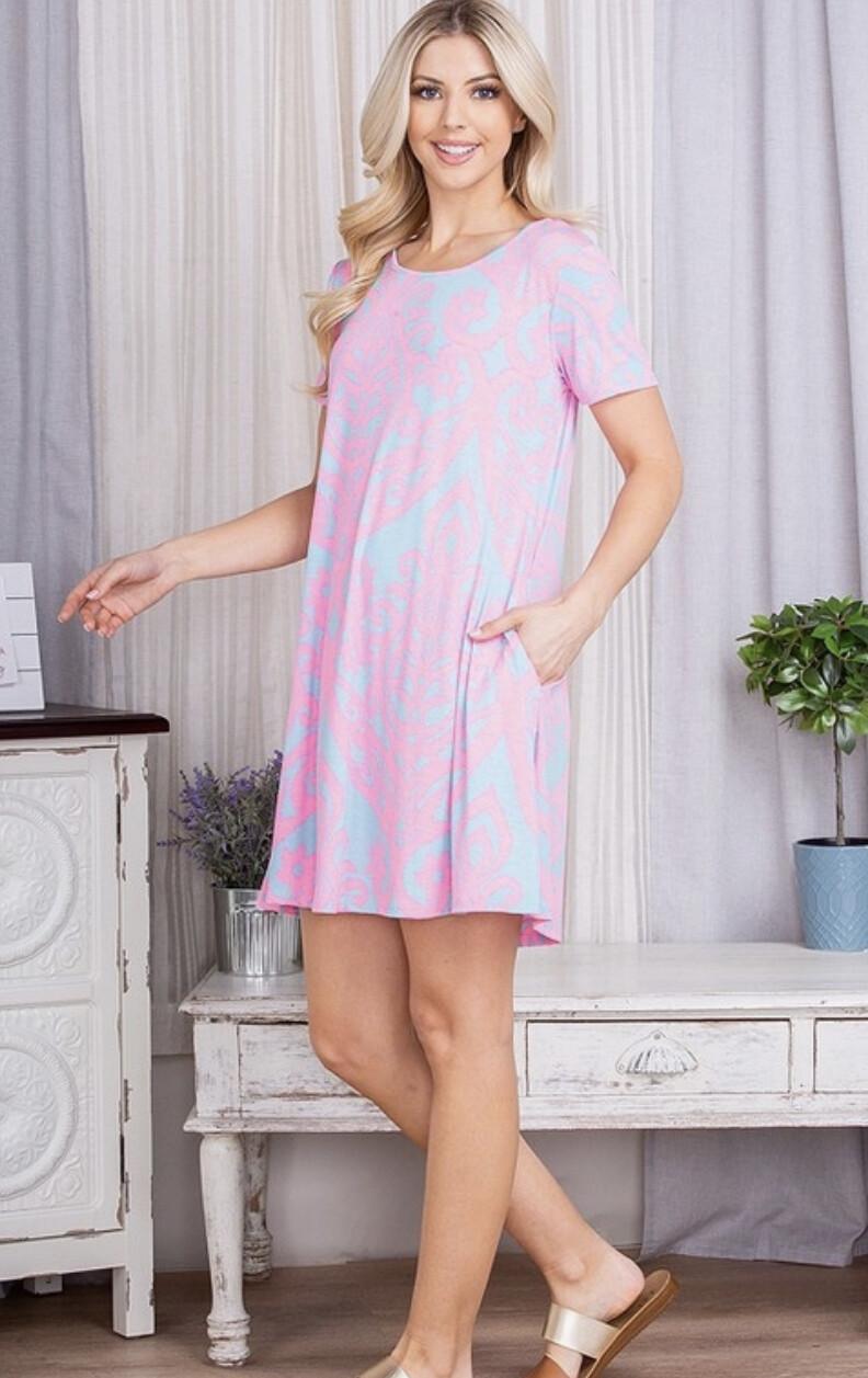 Heimish Short Sleeve Damask Print dress