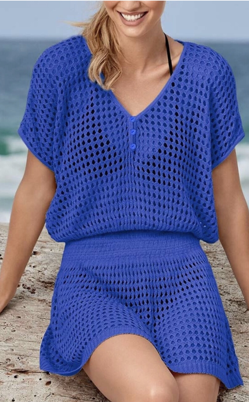 Mesh short sleeve swimwear cover up