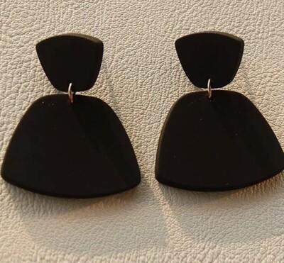 Clay Chic Black Drop Earrings