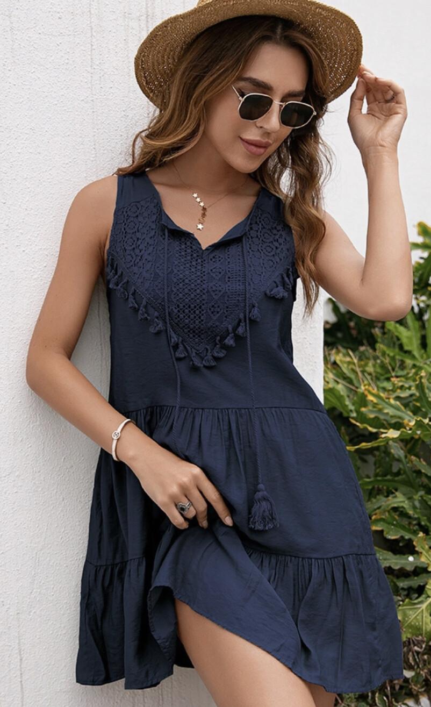 Delicate Crochet Lace Sleeveless Mini Dress