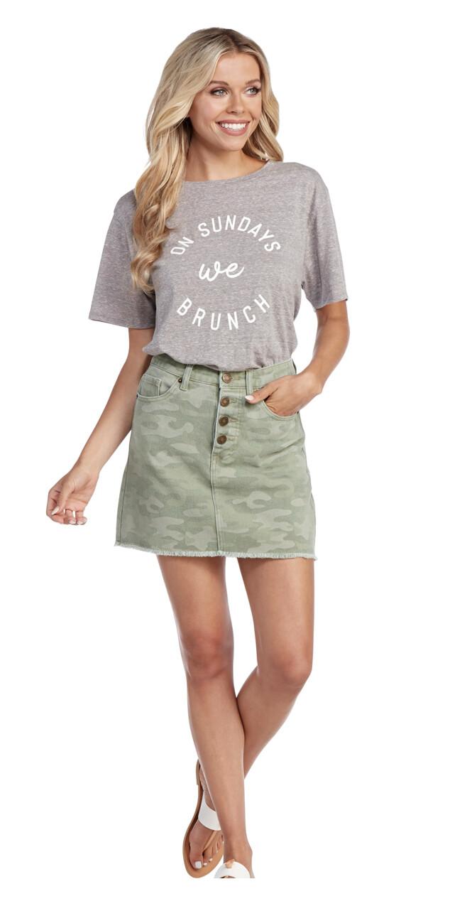 Mud Pie Windsor Camo Button Fly Skirt