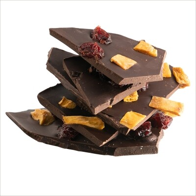 100% Cocoa Bar Shards with Mango and Cranberry Pieces 150g