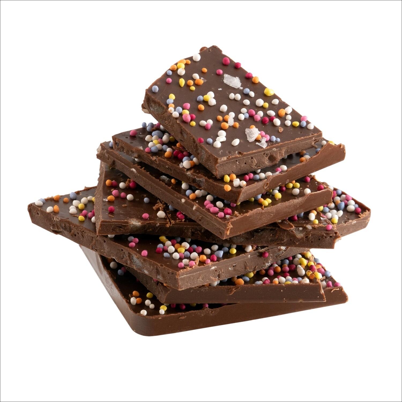 33% Milk & 60% Dark Chocolate Blend Shards with Sea Salt, Sprinkles & Popping Candy 150g