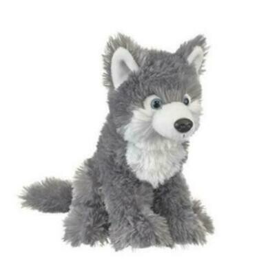 """10"""" Grey Wolf Pup Plush by Wildlife Artists"""