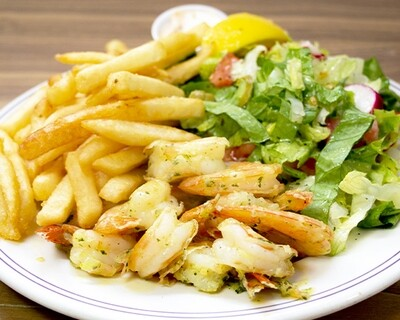 Assiette de crevettes sautées à l'ail / Sauteed Shrimp with Garlic Plate